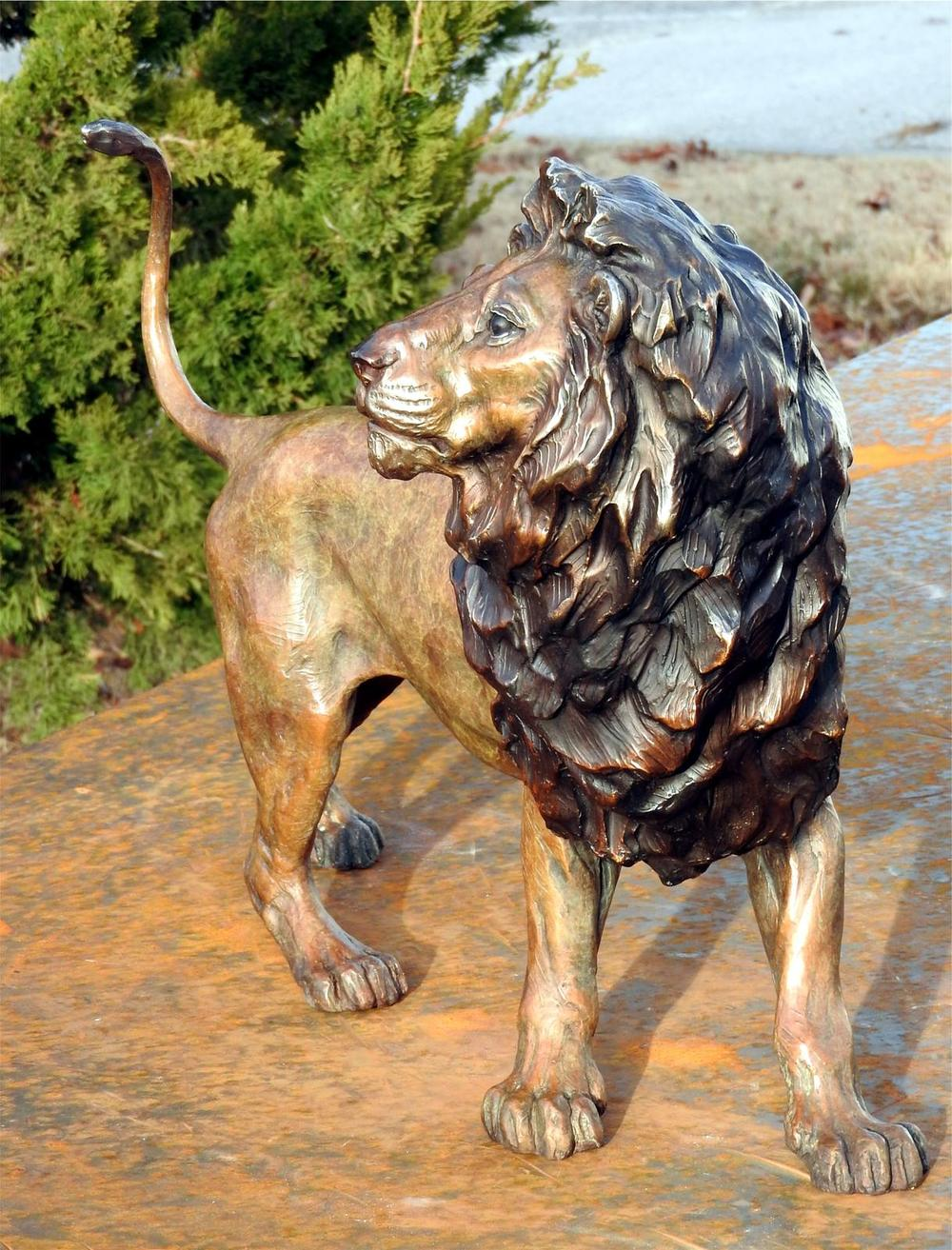 African Male Lion Maquette - Audubon Zoo Lion Sculpture - Running Wild Studio African Lion Sculpture Bronze African Lion