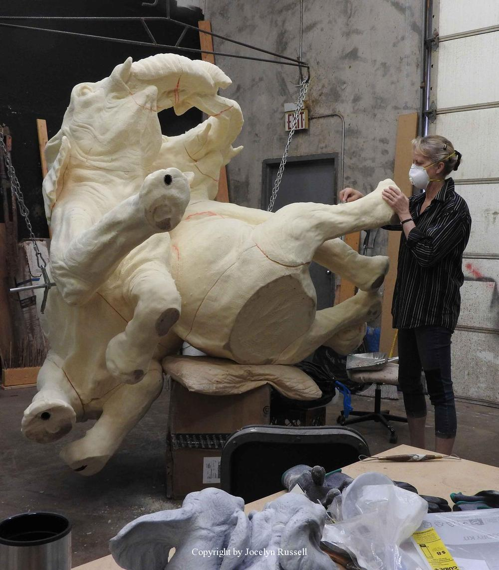 April 17, 2016 You can see the baby int he background - Audubon Zoo Elephant Sculpture Project - Running Wild Studio