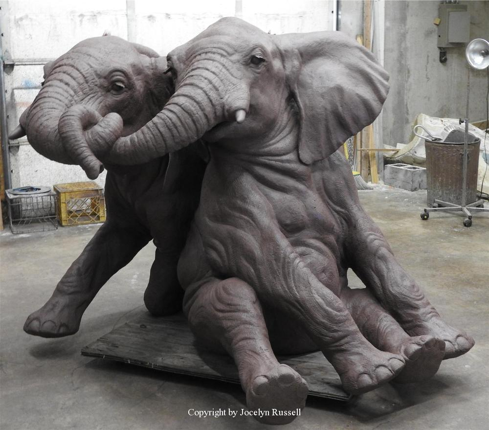 April 29, Finished in clay - Audubon Zoo Elephant Sculpture Project - Running Wild Studio