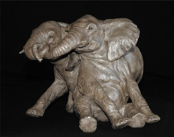 "Changa (Juveniles) - Audubon Juveniles Elephant Maquette 10""H x 12""L x 12""W- Edition of 24 - Running Wild Studio Life-size Elephant Bronze Sculpture Elephant Family in Bronze"
