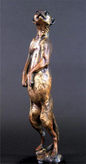 """Day Shift -Meerkat Sentinel -Life Size 19""""H x 5""""L x 4""""W - Edition of 24 - Running Wild Studio Meerkat Bronze Sculpture Life-size Meerkat Statue"""