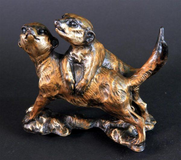 """Double Trouble -Meerkat Pups -Life Size 8""""H x 5""""L x 8""""W - Edition of 24 - Running Wild Studio Meerkat Bronze Sculpture Life-size Meerkat Statue"""
