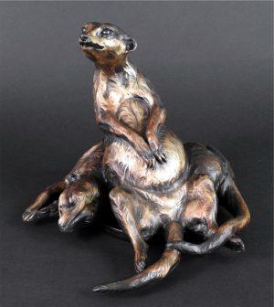 """Easy Chair -Meerkats reclining -Life Size 9""""H x 11""""L x 11""""W - Edition of 24 - Running Wild Studio Meerkat Bronze Sculpture Life-size Meerkat Statue"""