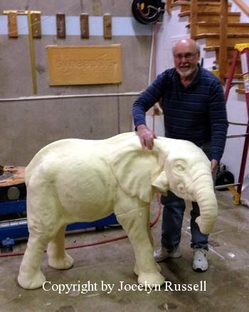 April 1, 2016 The baby is cut in foam to the specified height - Running Wild Studio Audubon Elephant Sculpture Elephant Zoo Sculpture