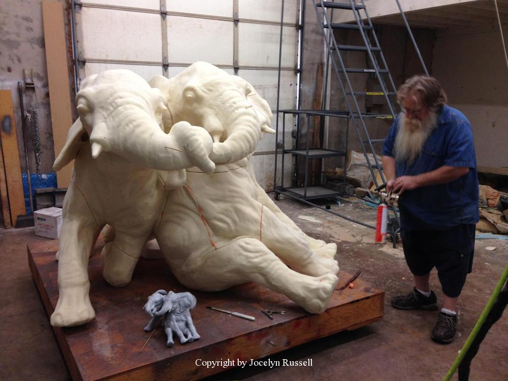 April 5, 2016, Steve has the foam assembled and ready for tooling - Audubon Zoo Elephant Sculpture Project - Running Wild Studio
