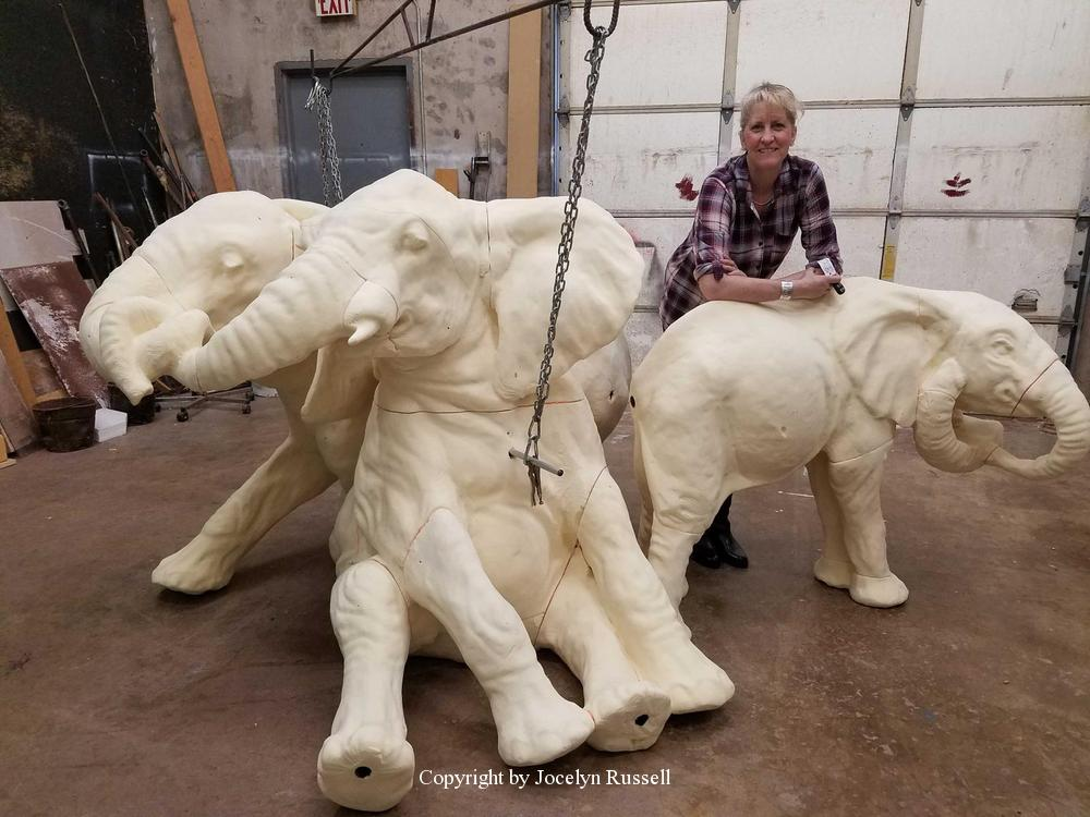 April 9, 2016 After a few days of tooling, the juvies are shaping up - Audubon Zoo Elephant Sculpture Project - Running Wild Studio