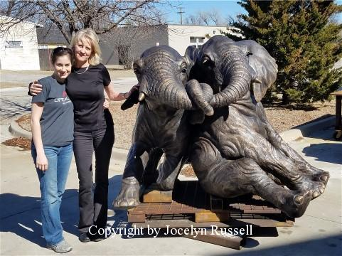 Jocelyn and Kristen - Audubon Zoo Elephant Sculpture Project - Running Wild Studio