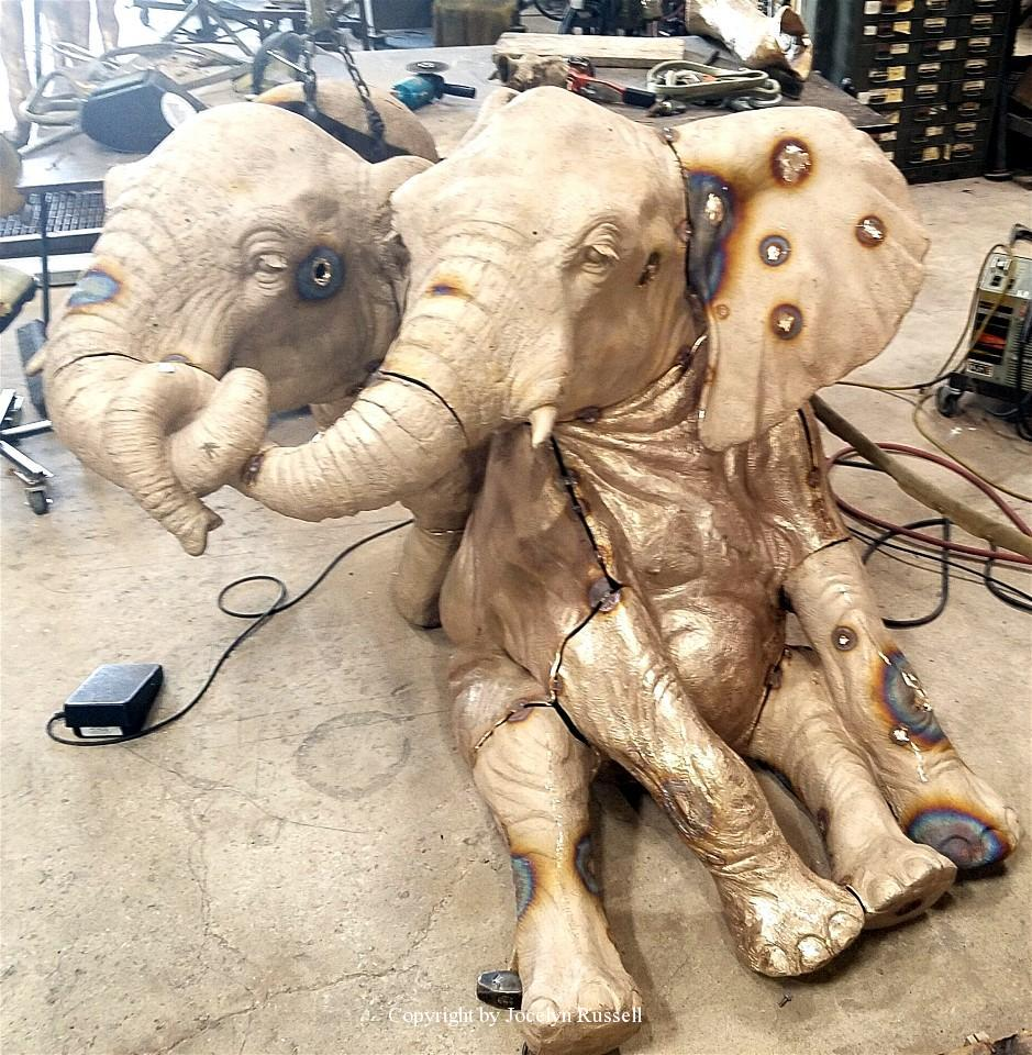 Juvies in metal - Audubon Zoo Elephant Sculpture Project - Running Wild Studio