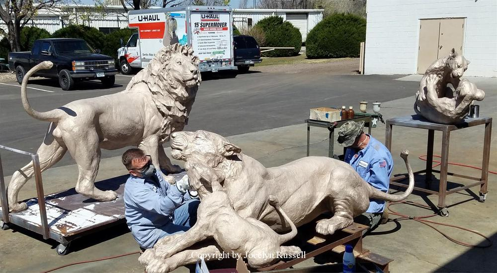 The lions are cast and assembled and ready for patina - Audubon Zoo African Lion Sculpture - Running Wild Studio African Lion Bronze Male Lion Sculpture