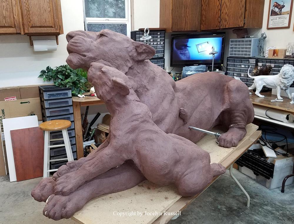 The clay is applied and tooled - Audubon Zoo Lioness and Cub Sculpture - Running Wild Studio Lioness and Cub Sculpture African Lioness Bonze