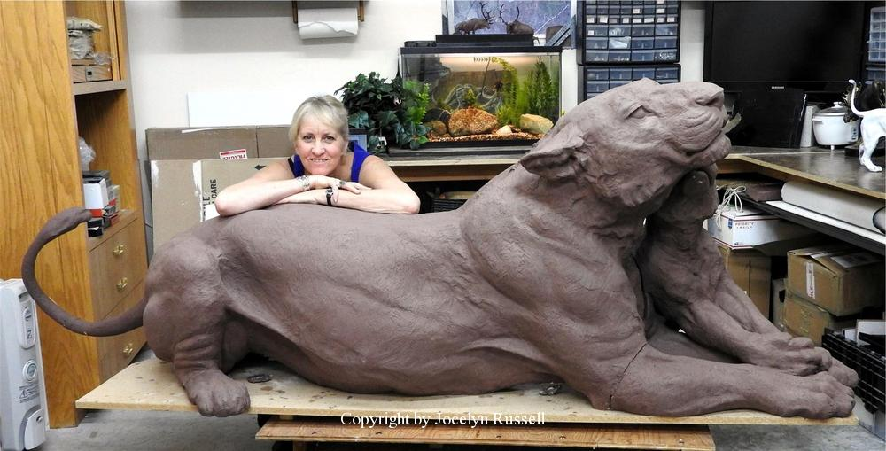 Lioness/cub complete in clay for shipping to the foundry - Audubon Zoo Lioness and Cub Sculpture - Running Wild Studio Lioness and Cub Sculpture African Lioness Bonze