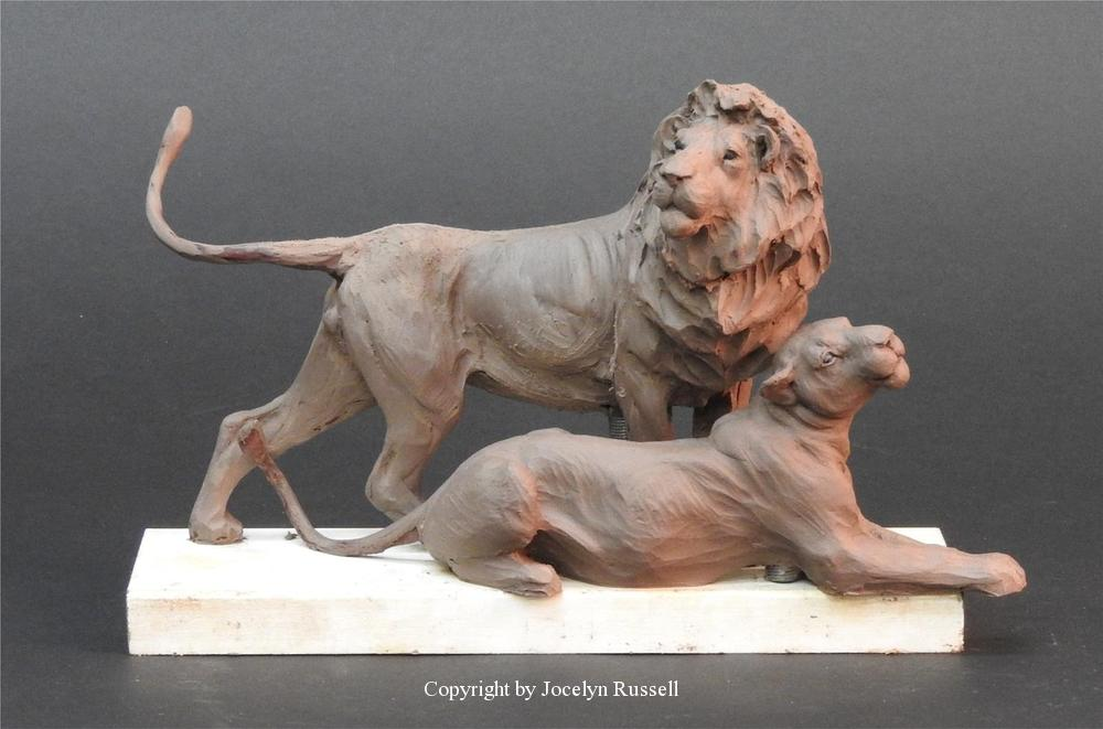 I added the lioness for grins, but she will not be placed near him at the Zoo - Audubon Zoo African Lion Sculpture - Running Wild Studio African Lion Bronze Male Lion Sculpture