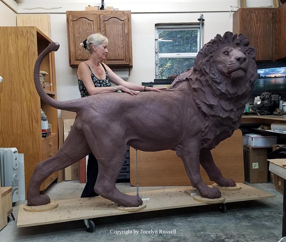 The lion is complete in clay and ready to ship to the foundry - Audubon Zoo African Lion Sculpture - Running Wild Studio African Lion Bronze Male Lion Sculpture