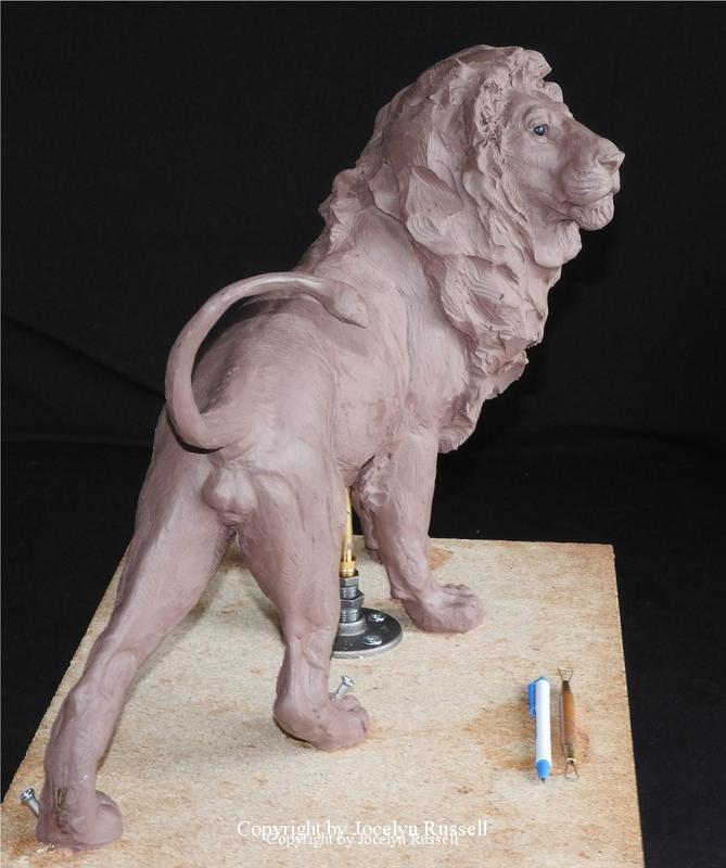 July 17, this is the maquette in progress - Audubon Zoo African Lion Sculpture - Running Wild Studio African Lion Bronze Male Lion Sculpture