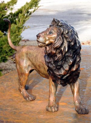 "Mfalme (King) - Audubon Lion Maquette 15""H x 18""L x 9""W - Edition of 24 - Running Wild Studio African Lion Family Life-size Sculpture Monumental Bronze African Lions"