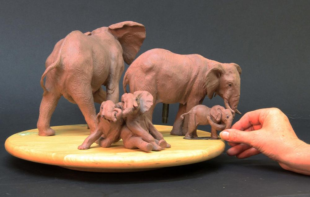 Miniature Elephant Family - Running Wild Studio Audubon Elephant Sculpture Elephant Zoo Sculpture