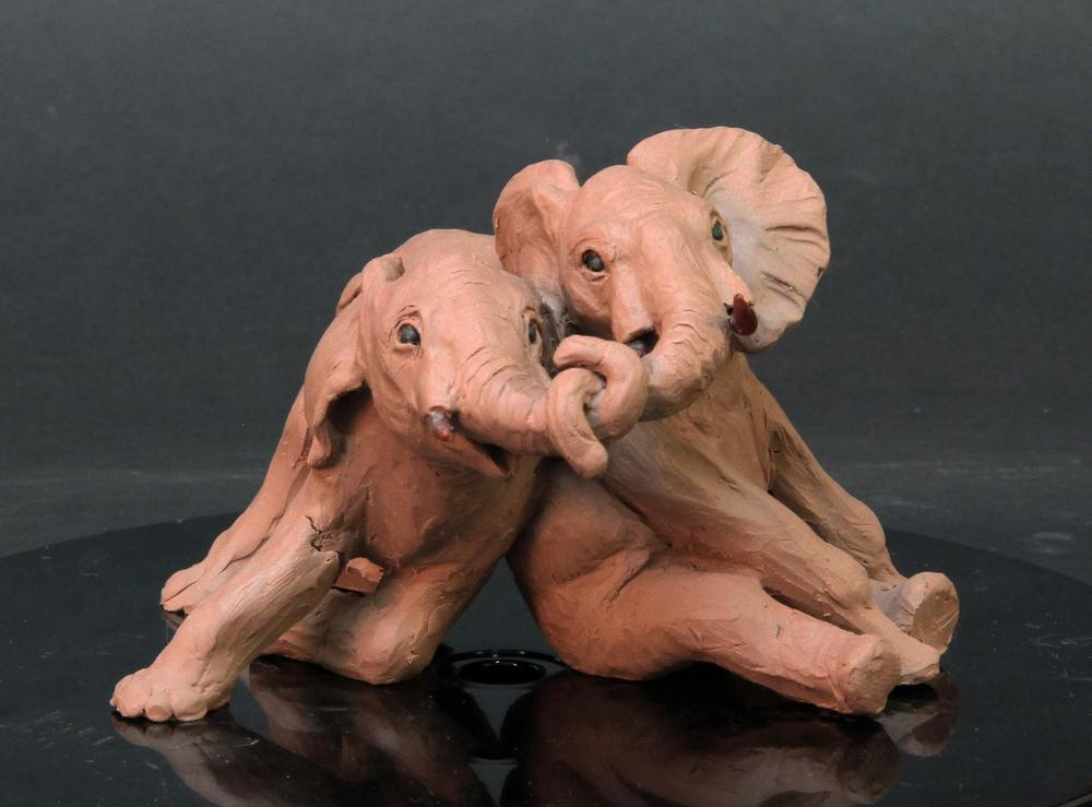 Miniature Juvenile Elephant Calves - Audubon Zoo Sculpture Project <br>Juveniles: One sitting to reflect the elephant we are replacing... the second one in a playful body- slam position with their trunks entangled. I think the kids will love it and young elephants really  do interact like this... so I like that - Running Wild Studio