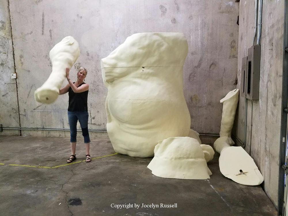 APR 24, 2016 Momma elephant is being milled in foam - Running Wild Studio Audubon Elephant Sculpture Elephant Zoo Sculpture