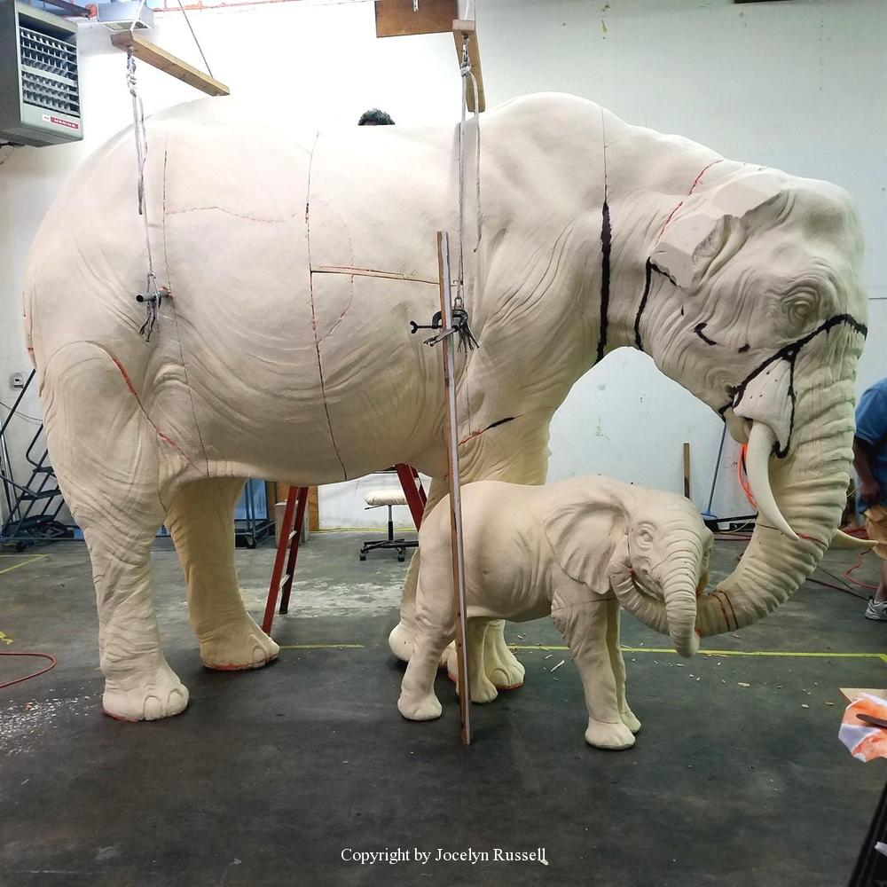 May 23, Michael is filling in the seam lines - Running Wild Studio Audubon Elephant Sculpture Elephant Zoo Sculpture