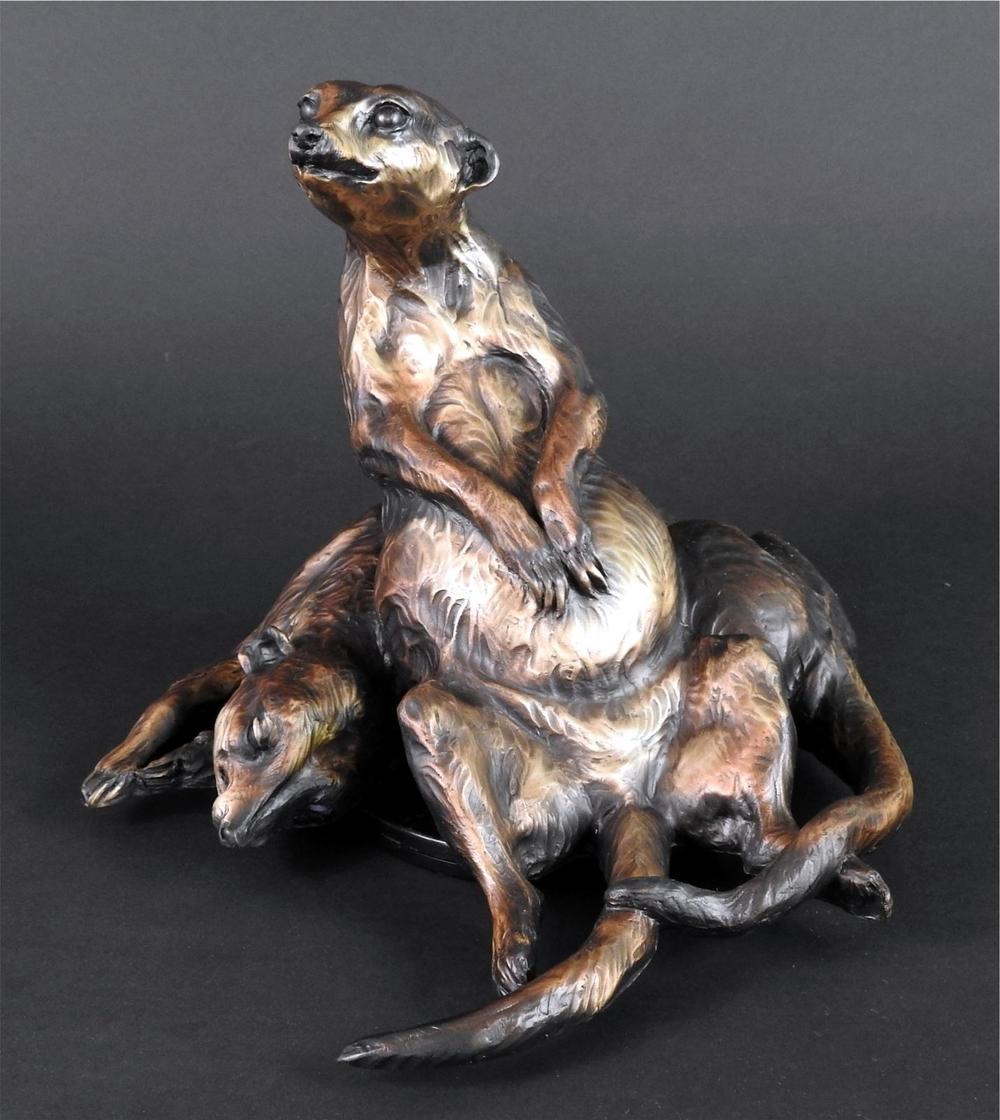 Relaxing Meerkats - Audubon Zoo Meerkats Bronze Sculpture - Running Wild Studio Meerkat Sculptures New Orleans Audubon Meerkats