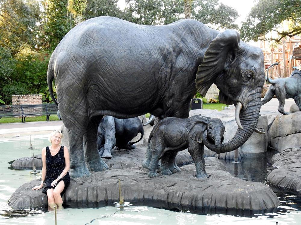 """Tefu"" (Tender) – Audubon Cow/Calf Elephant- Life Size"