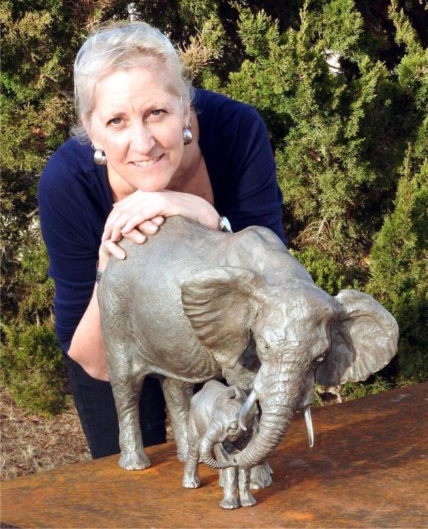 "Tefu (Tender) - Audubon Cow/Calf Elephant Maquette 17""H x 21""L x 12""W- Edition of 24 - Running Wild Studio Life-size Elephant Bronze Sculpture Elephant Family in Bronze"