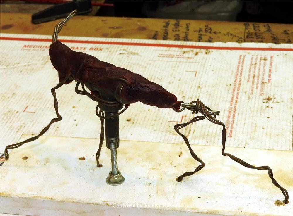 """The lion miniature starts with a small wire armature - Audubon Zoo African Lion Sculpture <br>Most all of my sculptures start with a wire skeleton, even the miniatures. This lion will be only 4 1/2"""" at the shoulder. - Running Wild Studio African Lion Bronze Male Lion Sculpture"""