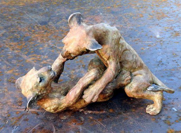 "Ufunzi (Frisky) - Audubon Lion Cubs Maquette 7""H x 10""L x 5""W- Edition of 24 - Running Wild Studio African Lion Family Life-size Sculpture Monumental Bronze African Lions"