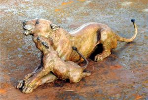 "Ungwana (Gentle) - Audubon Lioness Maquette 7"" H x 23""cL x 7""cW - Edition of 24 - Running Wild Studio African Lion Family Life-size Sculpture Monumental Bronze African Lions"